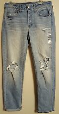 NWT AMERICAN EAGLE Misses Tomgirl Jeans Sz 8R Destroy Light Wash