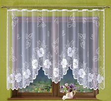 Beautiful Jacquard Net Curtains, leaves and flowers READY-MADE 300 cm x 160cm