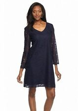 madison leigh lace all over shift dress blue size 8