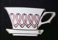 Breast Cancer Pink Ribbon Tea Coffee Cup Lapel Pin Tac Silver Plated New