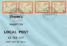 1971 STRIKE MAIL DAYAN'S HAMPTON 1p 2p 2p 5p VALUE LOCAL POST FIRST DAY COVER