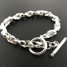 A805 GENUINE REAL 925 STERLING SILVER SF SOLID LADIES TBAR STYLE BRACELET BANGLE
