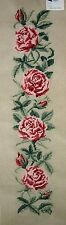EP 1072 Vintage Pink Rose Floral Bell Pull Preworked Needlepoint Canvas