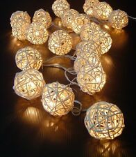New Solar Power LED Creamy White Rattan Ball Fairy Light 8 Meters Outdoor Lights