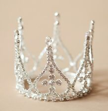 Mini Crown for Newborn - Baby Photo Prop Crystal and Rhinestone Tall Spike 4041
