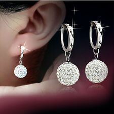 Fashion Crystal Disco Ball Beads Charm Dangle Hoop Women Eardrop Earrings Gift