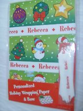 "NEW! PERSONALIZED ""Rebecca"" HOLIDAY WRAPPING PAPER +BOW! Christmas Gift Wrap"