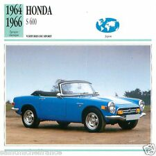 HONDA S 600 1964 1966 CAR VOITURE JAPAN JAPON CARTE CARD FICHE