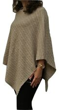100% Pure Cashmere Cable knit Poncho In Oatmeal Beige, Handcrafted In Nepal