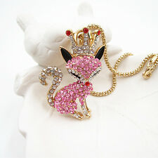 Gold Plated Pink Crystal Cute Crown Fox Pendant Chain Sweater Necklace