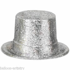 12 Hollywood New Year Party Silver Glitter Top Hat Table Centrepiece Decorations