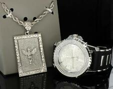 "Epic Combo Set Icy Angel Silver Tone Watch 30"" Rope Chain Charm Hip Hop Bling"