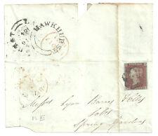 1841 1D RED KB FOUR MARGINS BLACK PLATE X1 MALTESE CROSS 1841 HAWKHURST UDC