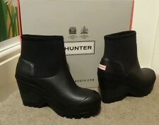 WOMANS HUNTER ORIGINALE DEEP SEA Zeppa Stivali Neri Taglia 4 Nuovo RRP £ 159.99