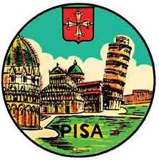 Pisa  Italy    Vintage 1940's-Style Travel Decal/Sticker