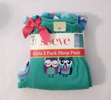 NEW St. Eve Girl's Cozy Fleece Elastic Waist Sleep Pants 2-pack Teal Owls 10