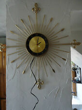 VTG STARBURST LUX WALL CLOCK WITH CREST, WORKS ELECTRIC, MED CENTURY WIRE CLOCK