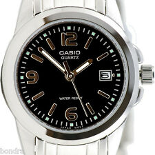 Casio Ladies Black Dress Date Watch Steel Band Analogue LTP-1215A-1AV Brand New