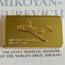MIKOYAN - GUREVICH-MIG 15 GOLD PLATED PROOF INGOT - jane's medallic register