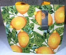 1 x Shopping Tote w Lemon Print Jute 2164LEM EARTH AXXESSORIES 33cm x 40cm x 11