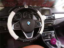 LUXURY CRYSTAL STITCHES LEATHER VEHICLE CAR STEERING WHEEL COVER BLACK AND WHITE