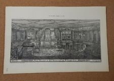 "Antique Architects print main Saloon of Steam yacht ""Boadicea"" The Builder 1883"