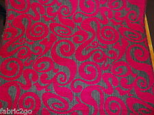 Heavy Duty Vibrant Pink Swirl Raised Woven Pattern Upholstery Fabric Top Quality