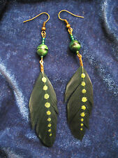 einzigartige Federohrringe Boho Hippie metallic grün bronze - feather earrings