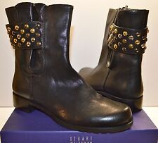 New $580 Stuart Weitzman Studsmart Black Vecchio Nappa Leather Short Boot sz 8