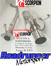 "SCORPION HONDA CIVIC TYPE R EP3 dispositivo silenziatore di scarico INOSSIDABILE CAT RETRO non Res 4 ""TAIL"