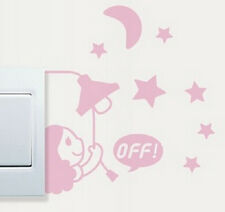 FD1243 Girl Moon Stars Switch Light Funny Wall Decal Vinyl Stickers DIY ~1pc~