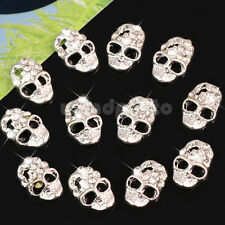 12 x Skull Alloy 3D Rhinestone Crystal Nail Art Decoration Tips Stickers Silver