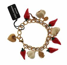 NWT DOLCE & GABBANA Gold Brass Garlic Chilli Sicily Heart Charms Bracelet Chain