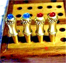 "4 Glowing ""Crown Jewel"" Cribbage Board Pegs Brass Metal Pegs, Velvet Pouch, USA"