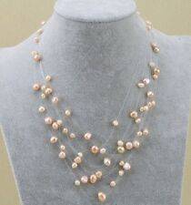 925 Sterling Silver Pink Freshwater Pearl Floating Illusion Necklace