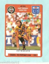 1991 BALMAIN TIGERS  RUGBY LEAGUE CARD #47  GARY FREEMAN