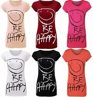 Womens Be Happy Smiley Face Short Sleeve Ladies Jersey Casual T-Shirt Top 8 - 14
