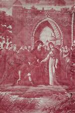 Antique French toile quit piece quilted bed curtain panel early 19th c red