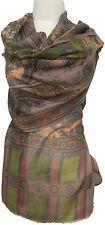 Schal Taupe Olivegrün Wolle Seide wool silk bedruckt wool silk printed scarf