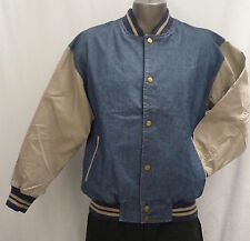 Light Weight, Mid Blue Denim / Cotton Sleeves Baseball Jacket (Size M)