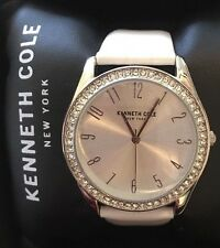 New Kenneth Cole Women's Watch 10031703 White Strap Silver Crystallized $125