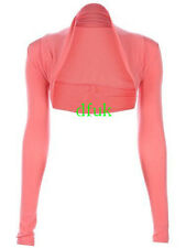 LADIES WOMEN'S CELEB INSPIRED PLAIN CROP VISCOSE BOLERO SHRUG TOP CARDIGANS 8-14