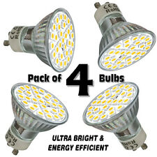 Pack of 4x GU10 LED Bulbs Day White 6.5W Ultra Bright SMD5050 Spot Light Lamps