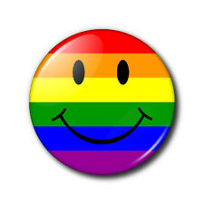 25mm Button Badge - Rainbow Smiley Face