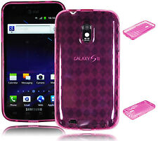 For Samsung Galaxy S2 II Epic D710 Pink Argyle Skin TPU Gel Skin Case / Cover