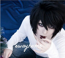 DEATH NOTE L·Lawliet Short Layered Black Cosplay Anime Hair Wig + free wig cap