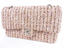 Auth CHANEL Matelasse 25 Tweed Chain Shoulder Bag W Flap Leather Pink White 3662
