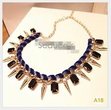 New Women Unique Stylish Necklace Chain Choker Black Rhinestone Gold Spiked