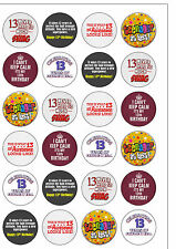 24PRECUT Age 13 13th Thirteen Teenager Birthday Edible Wafer Paper Cake Toppers