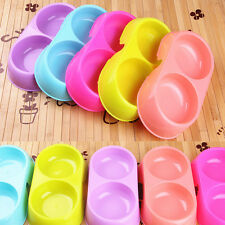Useful Pet Dog Cat Twin Double Dish Plastic Water Food Bowl Feeder Random Color